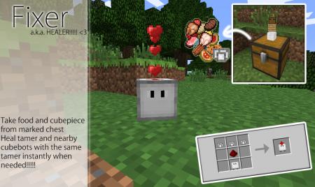 Мод Cubebots для Майнкрафт: крафт Fixer (Лекарь)