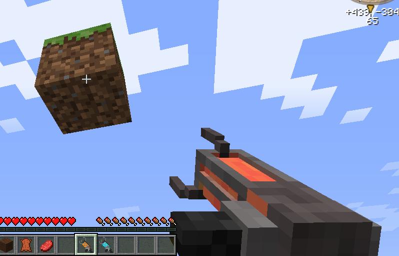 Мод для Майнкрафт The Gravity Gun: Игрок управляет блоком земли с помощью обычной Гравипушки
