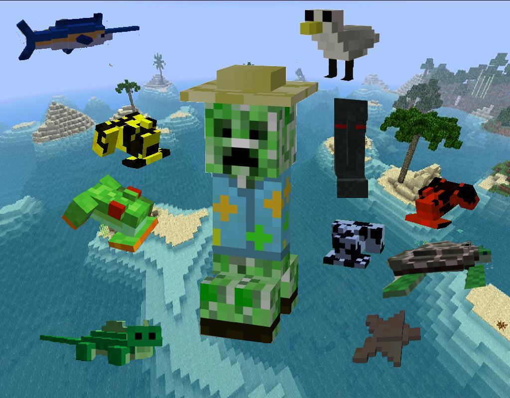 Мод Для Майнкрафт Tropicraft: крипер в гавайской рубашке и остальные существа