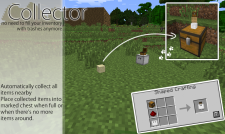 Мод Cubebots для Майнкрафт: крафт Collector (Собиратель)