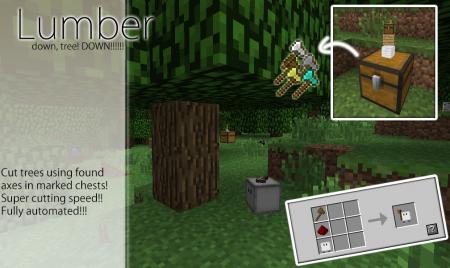 Мод Cubebots для Майнкрафт: крафт Lumber (Дровосек)