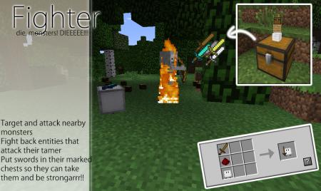 Мод Cubebots для Майнкрафт: крафт Fighter (Воин)