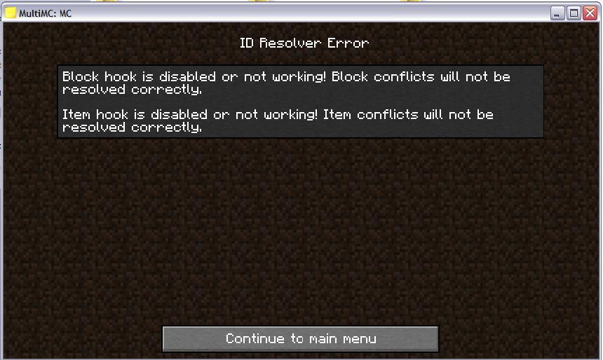 Мод для Minecraft Id Resolver: или такую ошибку...