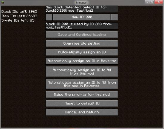 Мод для Minecraft Id Resolver: Меню коррекции ID предмета